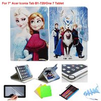 """Wholesale Cover Tablet Acer Iconia B1 - Let it Go Cute Cartoon Ice Snow Queen Princess Elsa Anna Olaf Premium Leather Case Cover For 7"""" Acer Iconia Tab B1-720 One 7 Tablet"""
