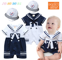 Wholesale Sailor Costume Baby - wholesale 2015 new baby boy romper sailor navy style toddler costume cotton short sleeve with hat baby jumpsuit 4pcs lot 0-3age ab201