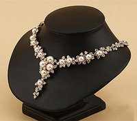 fildişi inciler düğün takıları toptan satış-Gül Altın Kaplama Fildişi İnci Temizle Rhinestone Kristal Diamante Düğün Gelin Kolye ve Earrins Fashione Takı seti