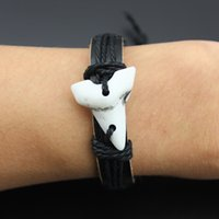 Handwoven New Tribal Ethnic Wholesale 12PCS / lots Resin Tooth Black Leather Hemp Cord Wristband Bracelet Jóias Gift