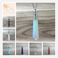 Wholesale Amethyst Gemstone Pendant - Natural Amethyst Point Pendant    Opal Point Pendant    Crystal Quartz Point Gemstone Pendant Healing Stone Pendulum Pendant Natural Quartz