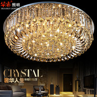 Wholesale Decoration Lamp Led E14 - Modern Round crystal chandeliers contemporary ceiling lamp E14 led glass lights living room bedroom decoration Dining room