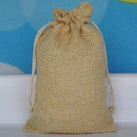 "Wholesale Rustic Jewelry - Jute Hessian Drawstring Pouches 10cmx15cm (4""x6"") Necklace Jewelry Burlap Gift Bags Rustic Wedding Favor Holder"