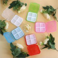 Wholesale Medicine Boxes Plastics - Mini Size 4 Grids PP Medicine Box Portable Jewelry Case Colorful Tablet and Pill Storage Box