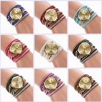 Wholesale Geneva Charms Watch - Fashion Geneva Bracelet Watches Women Watches Lady Wrap Wrist Watches Round Dial Charming Bracelets Quartz Watches Geneva Mix 8 Colors