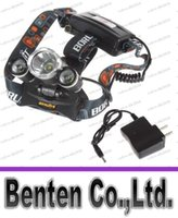 Wholesale Led Low Cost - Low-cost short 5000LM JR-3000 3X CREE XML T6 LED Headlamp Headlight 4 Mode Head Lamp + AC Charger for bicycle bike light outdoor Sport LLFA8