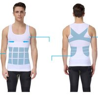Wholesale Burns Vest - Posture Corrector Shirt Men Body Shaping Vest Slimming Chest Belly Abdomen Tummy Fat Burn Hot Shapers Black White M,L,XL