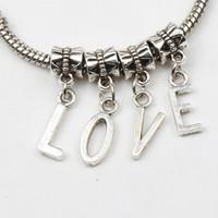 Wholesale European Beads Dangle Charm - 104pcs lot Antiqued Silver A-Z Letter Dangles Big Hole Beads Fit European Charm Bracelet Jewelry DIY 28X7mm