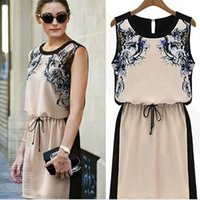 Wholesale Dropshipping Dresses - 2016 beautiful Sleeveless Printed Chiffon Dress Pinched Waist Floral Casual Mini Dresses for women ang girls Free&DropShipping