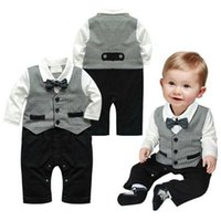 Wholesale Nice Baby Clothing - Nice Boy Baby Infant Formal Gentleman Clothes Button Necktie Suit Romper 0-18M