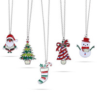 Wholesale children christmas sticker - Christmas Stickers Printing Necklaces Painting Stickers Pendant Stainless Alloy Link Chain Necklace Jewelry Gifts For Women Men Children