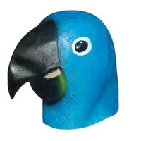 Wholesale Parrot Halloween Costume - Blue Parrot Latex Mask Realistic Masquerade Costume Prop Halloween Party Adult Full Face Mask Silicone mascara latex realista