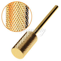 Wholesale Electric Tools Drill Metal - 1PCS Pro Cylinder Electric Gold Carbide art Nail Care Drill Bit Accessories Tool File Metal Round Style Wholesale