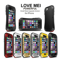 Wholesale Gorilla Glass Case 4s - Love Mei Metal Armor Case for iPhone 6 6S Plus 5 5S 5C 4S Waterproof Shockproof & Corning Gorilla Glass Silicone Cover