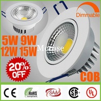5W 9W 12W 15W Yes LED Limited 20% OFF-CREE COB 5W 9W 12W 15W Dimmable Non LED Downlights White Shell Fixture Recessed Ceiling Down Lights Lamps+Power Supply CSA