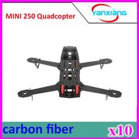 Wholesale Mini Helicopter Batteries - 10pcs Duarable & Lightweight Pure Carbon Fiber 4 Axis Mini 250 Quadcopter Frame Mini Quad Frame for 250 C250 ZY-DJI-25
