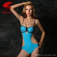 Wholesale Diamond Bandeau - 2016 Hot Sale Vintage Halter Swimwear Bandeau One Piece Swimsuit Women Push Up Sexy Bodysuit Elegant Monokini Sewing Diamond Beachwear