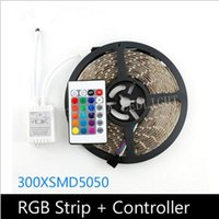 Wholesale Led Light Rgb Monochrome - 5M Waterproof 5050 RGB LED Strip Light SMD monochrome 60leds   m +24 key IR remote control 12V