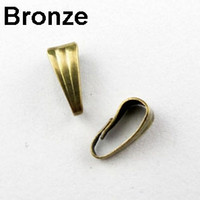 Wholesale Gold Pinch Clasp - Wholesale-300PCS LOT Pendant Clips & Pendant Clasps, Pinch Clip Bail Pendant Hooks Connectors ,Silver Gold Nickel Bronze CN025