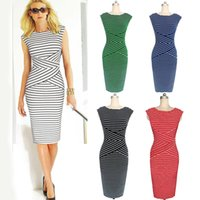 Wholesale Xl Slim Fit Garments - Ladies sexy sleeveless dresses fashion striped pencil dress fashion stitching women clothes Fitted Slim garment WQ0842