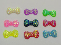 Wholesale Flatback Mixed Bow - 200 Mixed Color Bowknot Bows Flatback Resin Dotted Rhinestone Gems 13x7mm Flat Back Resin