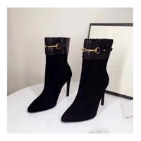 botines de piel de oveja de gamuza al por mayor-De lujo de las nuevas mujeres del tobillo botas de tacón de 10 cm Caballero Moda 100% piel de oveja Suede zapatos de cuero tamaño 35-40