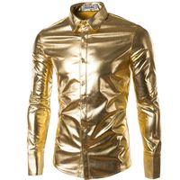 lange beschichten unten glänzend großhandel-Trend-Nachtclub der Großhandelsmänner beschichtete metallische Goldsilber-Knopf-Hemden stilvolle glänzende lange Hülsen-Hemden für Männer