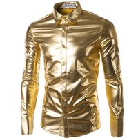Wholesale Mens Long Sleeve Button Shirt - Wholesale-Mens Trend Night Club Coated Metallic Gold Silver Button Down Shirts Stylish Shiny Long Sleeves Dress Shirts For Men