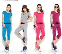 Wholesale 2014 Short Sleeve Capris Set Casual Sports Twinset Cotton O Neck Patchwork Bow Summer Women Sets Size XXL Blue Beige