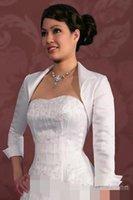 Wholesale Hot Grey Taffeta - cheap Hot Sales 3 4 Sleeve Taffeta Wedding Bridal Bolero Jackets long Sleeve Mother Of The Bridal Modest Jacket Wraps