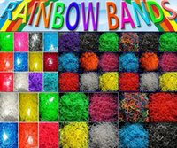 Wholesale Loom Bracelets Charms - Rainbow Wrist hot charms Children's DIY Kits 600 bands+24 S-Clips Silicone Elastic Candy Rubber Loom Bands Multy mixed Refill Bracelet