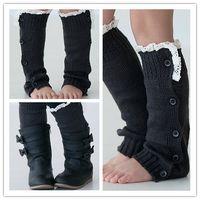 Wholesale Lace Ruffle Leggings For Girls - Wholesale-Dark Gray Knitted Boot Sock Leg Warmer , Girls Lace Ruffle Leg Warmer for Fall or Winter Soft to Wear