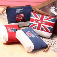 Wholesale Beautiful Grils - Wholesale- YIYOHI 11cm*10cm Cute British Style Beautiful Canvas Grils Zip Plush Coin Purse Kawaii Children Bag Women Wallets Earphone Bag