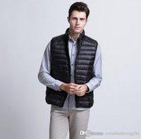 Wholesale Down Coat Men S Lightweight - Fashion Winter Down Vest Men's Lightweight Puffer Warm Vests Waistcoat Packable Sleeveless Coat Plus Size Sale
