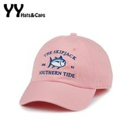 Wholesale Embroidery Fish - 2016 New Mmvi Southern Tide Fish Embroidery Baseball Cap Bone Snapback Women Men Summer Adjustable Track Golf Sun Hat Casquette