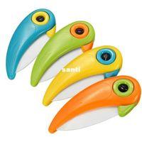 Wholesale Wholesale Ceramic Knifes - New Arrive Bird Rio Adventure Shape Folding Ceramic Knife Fruit Vegetable Cutting Paring Mini Knives