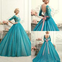 Wholesale Quinceanera Pink Ball Wedding Dresses - New Elegant Teal Lace Ball Gown Quinceanera Dresses Lace Up Plus Size Colorful Wedding Gowns With Sleeve Bow Fashion Scoop Sweet 16 J118