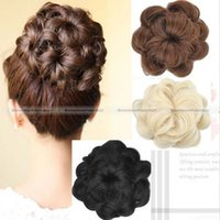 Wholesale Clip Updo - Wholesale- Shanghai magic box 1pc Large Curly Drawstring Clip In On Messy Hair Bun Piece Updo Hair Extensions 15114336