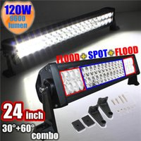 Promoção New 120W 24 polegadas LED Work Bar Luz Liga Mancha Flood Combo Driving OffRoad Boat Lamp 12V pedido de US $ rastreamento 18no