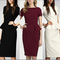 Wholesale Hot Ladies Work Dress - Wholesale Hot Career Ladies Formal Working Dresses Women Summer Style Bodycon Pencil Belted Falbala Party Wear to work Business Dresses