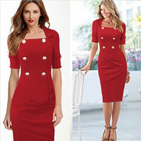 Wholesale Double Chiffon - Womens Square Collar and Short Sleeve Bodyconl Dress Double-breasted and Wrap Dress