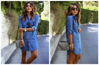 Wholesale Women S Blue Jean Dresses - Denim Dresses Womens Longline Shirt Dresses Europe And The United States Loose Irregular Jean Dresses Casual Blue Shirt Dresses