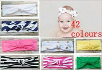 Wholesale Chevron Stripe Ribbon - Cotton girl baby Turban Twist Headband Head Wrap Twisted Knot Soft stripe Hairband chevron Headbands golden Wave dot HeadWrap FD6554