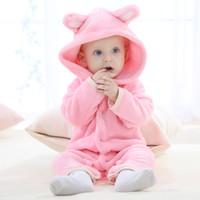 bebek ayı kıyafetleri toptan satış-Tulum Bebek Romper Bebek Erkek Kız Tulum Ayı Yeni Doğan Bebe Giyim Kapşonlu Yürüyor Bebek Giysileri Sevimli Hayvan Romper Bebek Kostümleri