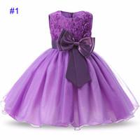 akşam partisi çocukları elbiseler toptan satış-Kız Beyaz prenses Dantel abiye Çocuk Noel cosplay Gül çiçek ilmek Doğum Günü partisi elbise B001