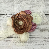 Wholesale Wide Lace Headband Wholesale - Brown Layered Poppy Flower Matching Feather With Wide Lace Headband Baby Girl Headband Ballerina's Accessories 6pcs lot
