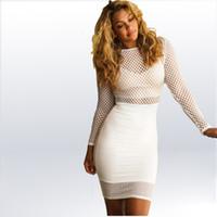 Wholesale White Mesh Cutout Dress - FREE SHIPPING 2016 New Fashion Black White Mesh Cutout Club Dress Women Casual Backless Mini Dress MKS-ZJ3050