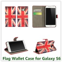 100PCS EMS / DHL Fashion Union Jack Retro UK USA Country Flag caso del basamento del raccoglitore copertura per la galassia S6 Card Holder G9200
