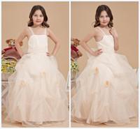 Wholesale Wedding Dresses Burgundy Trim - 2015 Wedding Dresses Floor-Length Cool Style Applique Hand Made Flower Bow Ball Gown Ruched Flower Trimmed Girl Wedding Dress