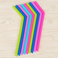 Wholesale Christmas Drinking Straws - 24cm lenght bend straw Food grade silicone gel Drinking straw for christmas Milkshakes Bar Drinks straw c256